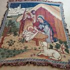 Knit Christmas Nativity Jesus Scene Tapestry Afghan Throw Blanket 48 x 57