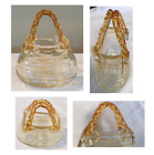VINTAGE Murano Style Hand Blown Art Glass Handbag Purse Clear With Amber Stripes
