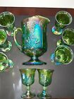 Vintg Lime Green Iridescent Carnival Glass Grapes Leaves Lg Pitcher  8 Goblets