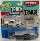 JOHNNY LIGHTNING TRUCK AND TRAILER 1996 DODGE RAM WITH CAR TRAILER WHITE SILVER