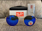RAY BAN Polarized Blue Round RB3447 Sunglasses Gold Metal Frame 112 4L 50MM NEW