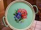 HANDPAINTED FLORAL ROUND GLASS TRAY WRAPPED HANDLES EDGE GLITTER GERMANY US ZONE