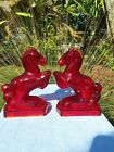 Vintage LE Smith Glass Co Red Amber Amberina Horse Bookends
