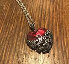 Sterling red glass marcasite heart pendant and chain