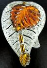Amazing Amber Glass Leaf Rhinestone Vintage Dress Clip