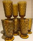 10 INDIANA Whitehall Colony Cubist Cube Amber Gold Pedestal Ice Tea Tumblers 6