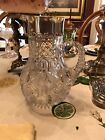 AMERICAN BRILLIANT PERIOD CUT GLASS STERLING COLLAR HONEYCOMB SPOUT