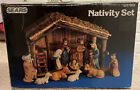 Vintage Sears 11 Piece Nativity Set Hand Painted Porcelain With Stable 3297889