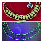 Vintage Fantasies By Robbins Uranium Glass Green Rhinestone Necklace NOS
