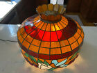 Vintage Tiffany Style Hanging Stained Glass Pendulum Light w Hummingbird Theme