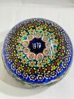 Vintage Murano Art Glass Paperweight Multi color date 1979 RARE