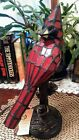 Dark Red Staind Glass Cardinal Accent Lamp