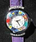 Ladies Original Murano Glass Wristwatch Made in Venice Italy Brand New Violet