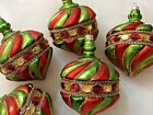 FRONTGATE Glass Christmas Ornaments Green Red Gold Jeweled LARGE 5 piece