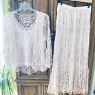 SOULMATES 3 Piece 100 Silk Crochet Beaded Top Jacket Skirt Set Dress Blush Pink