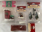 Lot of 4 Lemax Village CHRISTMAS OUTHOUSE, CHIPMUNKS, MAILBOX W/ 2 TREES, FENCE