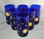 Six Libby Celestial Sun Moon Stars Water Cooler Glasses Cobalt Blue  Gold Nice