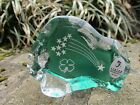 FENTON PAPERWEIGHT ICEBERG GREEN SHAMROCK IRISH STARS CARVED RARE FIGURINE GLASS