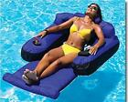 Pool Floating Lounger Cup Holders Inflatable Lounge Chair Home Summer Fun Adults