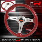For Nissan Infiniti 345mm Light Weight Aluminum Racing Steering Red Wood Grain