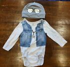 Baby Boy Girl Vip DJ Cool Longsleeved vest Beanie Hat novelty outfit 6-9 month