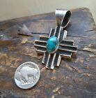 ++ Native American Navajo Sterling Silver Turquoise Zia New Mexico Pendant ++