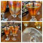 4 Rick Strini hand crafted Gold Swirl Iridescent art glass Wine Water Goblets