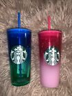 Starbucks Europe Glass Tumblers Pink And Blue