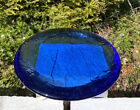 FIRE AND LIGHT RECYCLED GLASS LARGE 8 CANDLE STAND IN COBALT BLUE
