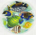 Peggy Karr Coral Reef Tropical Fish Fused Glass Platter 14 Signed 2001 New