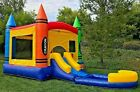 Commercial Inflatable Bounce House Crayon Wet Dry Slide 100 PVC Pool  Blower