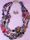 MURANO GLASS VENICE Jewelry Set Triple Strand Statement Necklace Earrings VTG