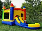 Commercial Inflatable Bounce House Rainbow Wet Dry Slide 100 PVC Pool  Blower