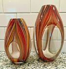 A Pair Of Missoni Art Glass Vases Vase 10 3 4  8 1 2 Inch BIN