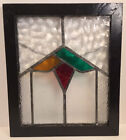 ANTIQUE LEADED GLASS MISSION ARTS  CRAFTS GEOMETRIC STAINED GLASS WINDOW 19X16