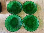 Anchor Hocking Emerald Green Bubble Glass Plate Set of 4 Vintage Depression
