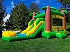 Commercial Inflatable Combo Bounce House Tropical Slide 100 PVC Pool Blower