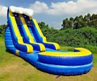 Commercial Grade Marble PVC Inflatable Blue Wave 15ft Water Slide 15HP Blower