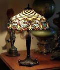 Victorian Art Nouveau Tiffany Style Jeweled Stained Glass Bronze Base Lamp 23