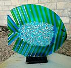 SENT Murano Art Glass Italy Fused Ribbon Cane FISH SCULPTURE on Stand w Label