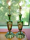 Pair 19th Moser Bohemian GREEN GOLD Glass Portrait Lamps
