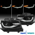 For 2014 2015 Camaro Glossy Black Projector Headlights LED Sequential Signal