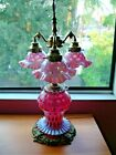 FENTON CRANBERRY COIN DOT GWTW LAMP WITH 4 LIGHTINGS GWTW