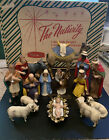 Vintage 17 Piece Hartland Plastic Nativity Set with Box