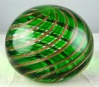 Vintage Murano Art Glass Paperweight Green Base Color w Gold Aventurine Spirals