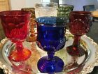 SIX VINTAGE MIXED BEAUTIFUL JEWEL TONE COLORED CUT GLASS DRINKING GOBLETS 3 5 oz