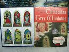 Vintage 1947 Plastic Stained Glass Window Christmas Nativity Tree Ornaments Box