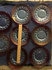 8 Ruby Red Cranberry Kings Crown Thumbprint Salad Plates 825