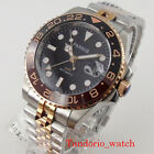 Two Tone 40mm Parnis Rose Gold GMT Hnads Automatic watch Sapphire Glass Calendar