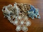 Tatting Lace Trim Doily Vintage Mixed Lot Sewing Supplies Brown Beige Blue